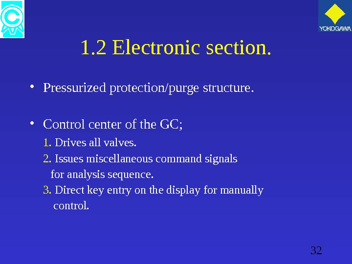 32 1. 2 Electronic section.  • Pressurized protection/purge structure.  • Control center of the