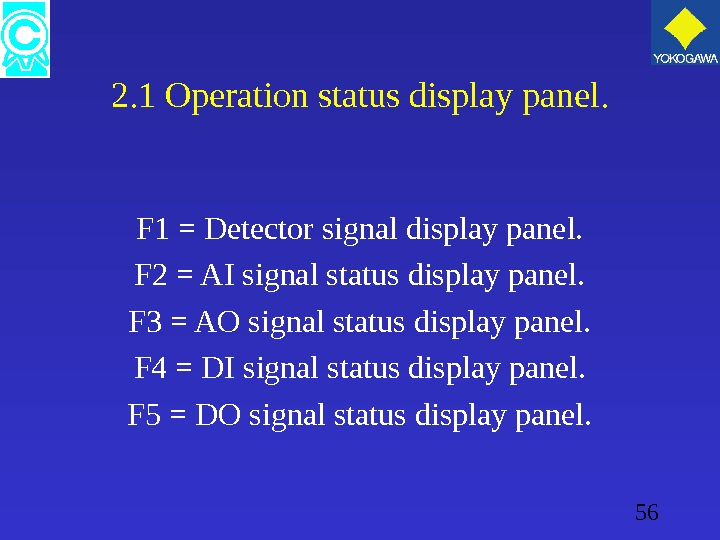 56 2. 1 Operation status display panel. F 1 = Detector signal display panel. F 2