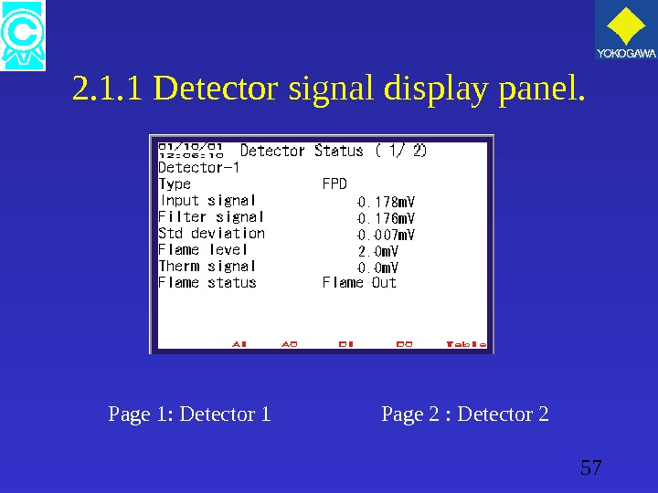 57 2. 1. 1 Detector signal display panel. Page 1: Detector 1    Page