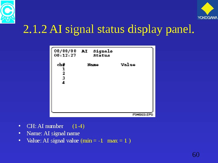 60 2. 1. 2 AI signal status display panel.  • CH: AI number  (1