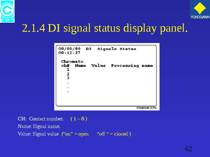 62 2. 1. 4 DI signal status display panel. CH:  Contact number.  ( 1