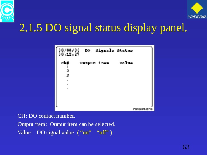 63 2. 1. 5 DO signal status display panel. CH: DO contact number. Output item: