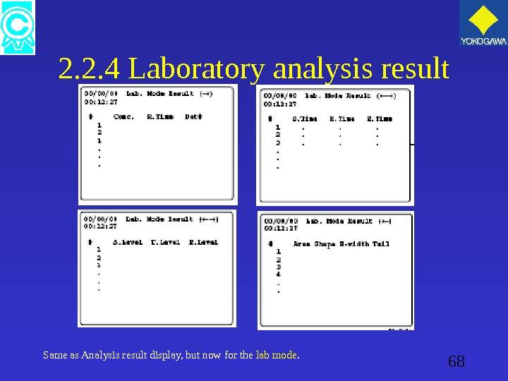 68 2. 2. 4 Laboratory analysis result Same as Analysis result display, but now for the