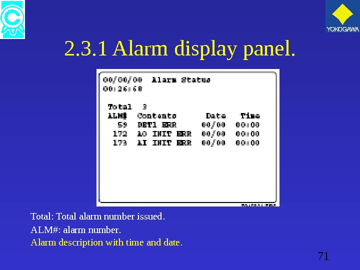 71 2. 3. 1 Alarm display panel. Total: Total alarm number issued. ALM#: alarm number. Alarm