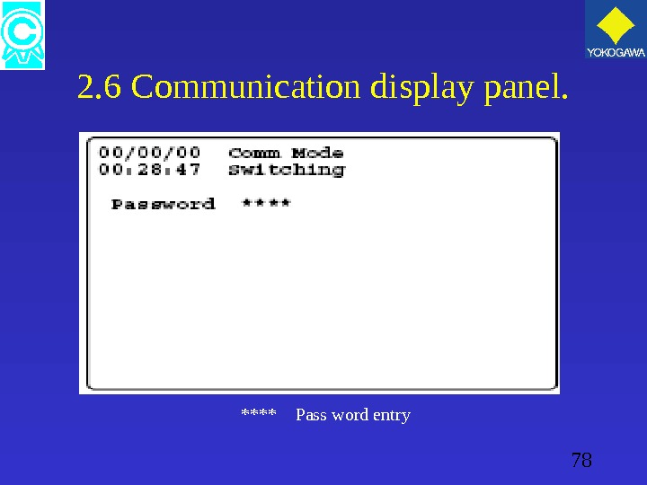 78 2. 6 Communication display panel.  ****  Pass word entry