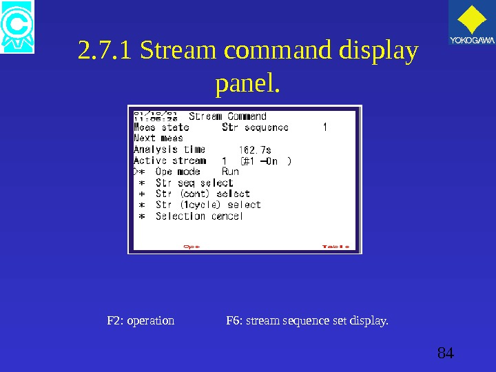 84 2. 7. 1 Stream command display panel. F 2: operation    F 6: