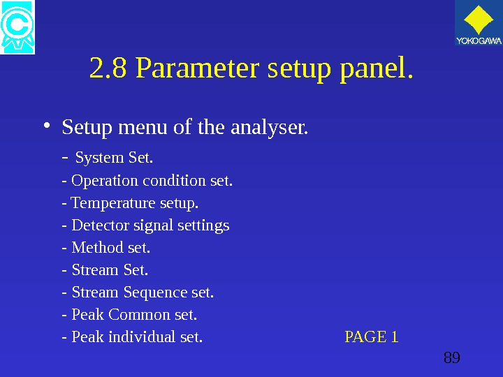 89 2. 8 Parameter setup panel.  • Setup menu of the analyser. - System Set.