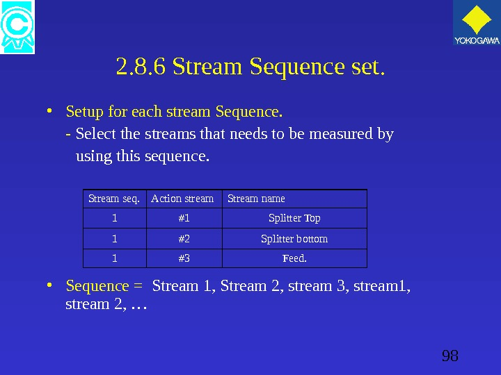 98 2. 8. 6 Stream Sequence set.  • Setup for each stream Sequence. - Select