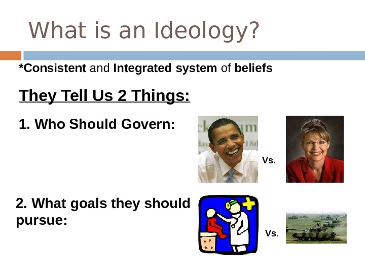 What is an Ideology? Vs. *Consistent and Integrated  system of beliefs They Tell Us 2