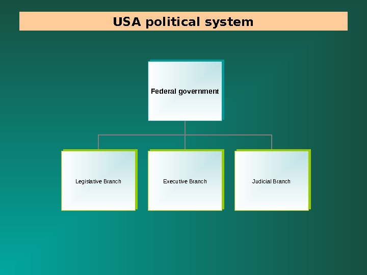 USA political system Federal government Legislative Branch Executive Branch Judicial Branch