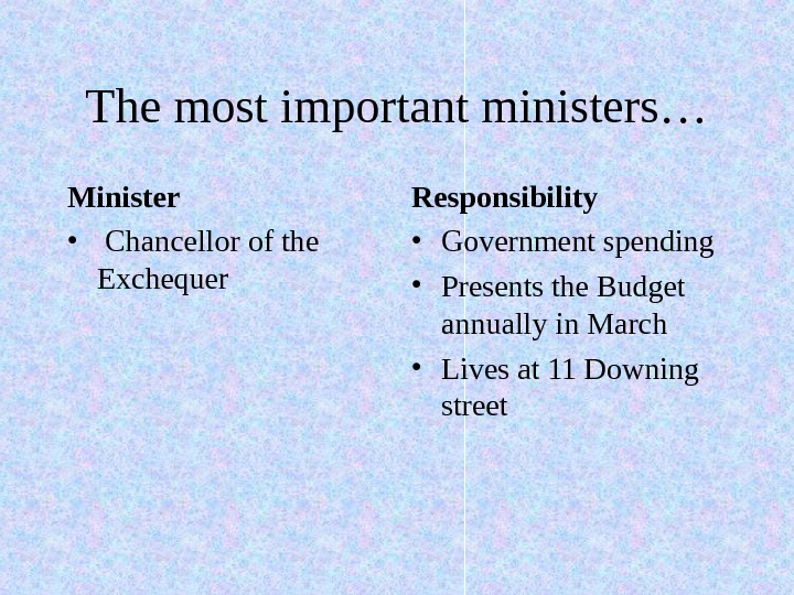 The most important ministers… Responsibility  • Government spending • Presents the Budget annually