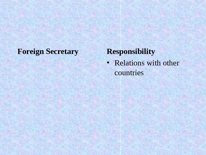 Foreign Secretary Responsibility • Relations with other countries