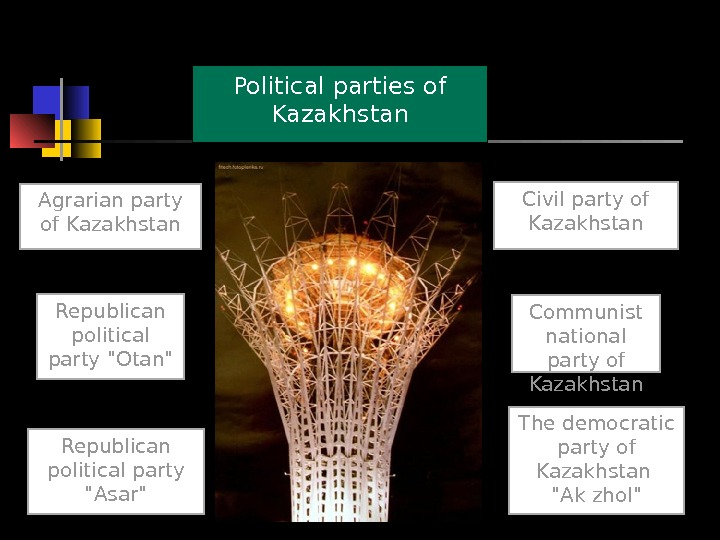 Political parties of Kazakhstan Agrarian party of Kazakhstan Civil party of Kazakhstan The democratic party of