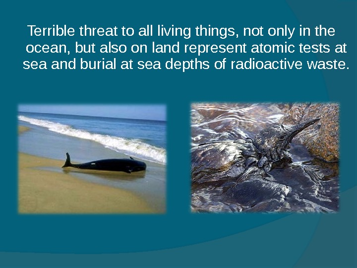 Terrible threat to all living things, not only in the ocean, but also on land
