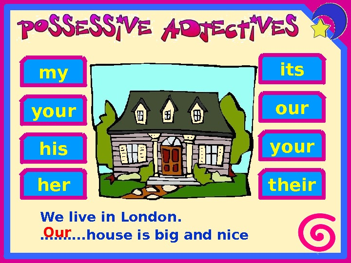 We live in London. ………. house is big and nicehis our your my your its her