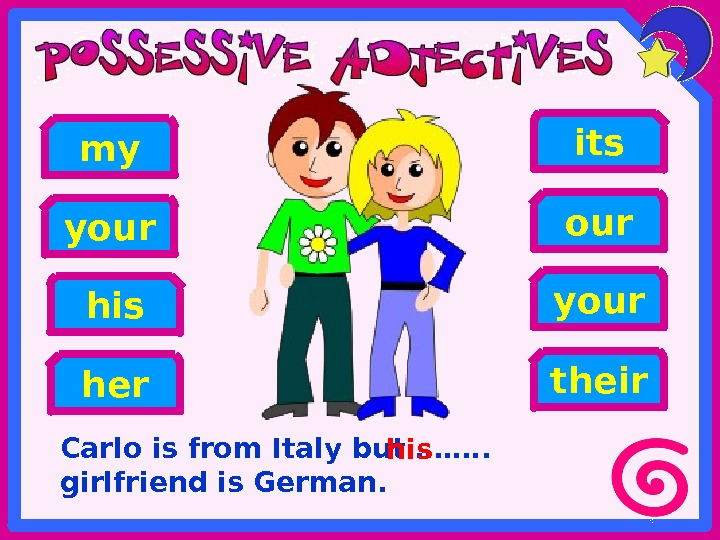 Carlo is from Italy but ……. .  girlfriend is German. her hisyour my your its