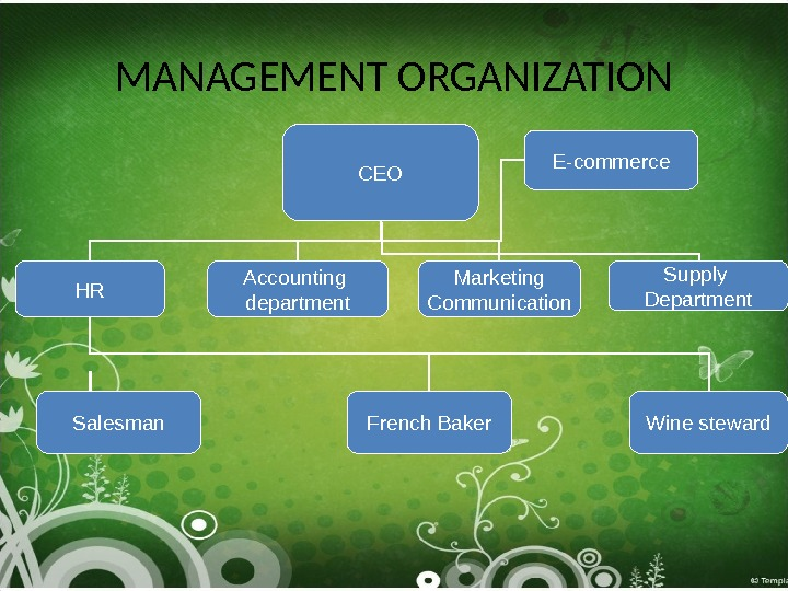 MANAGEMENT ORGANIZATION CEO Accounting department Marketing Communication Supply Department. HR Salesman French Baker Wine steward. E-commerce