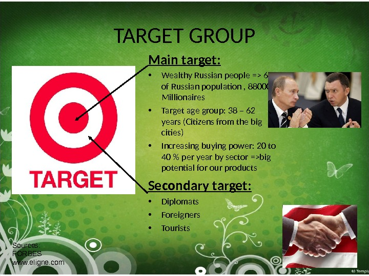 TARGET GROUP Main target:  • Wealthy Russian people = 6 of Russian population , 88000