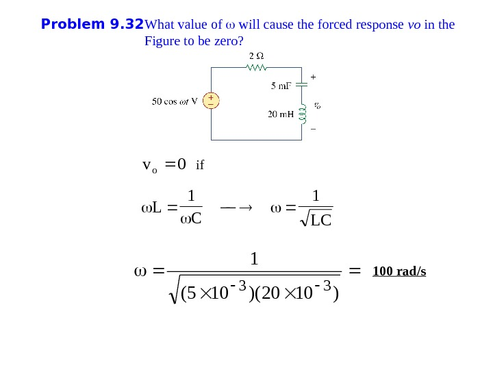 Problem 9. 32 What value of  will cause the forced response vo in the