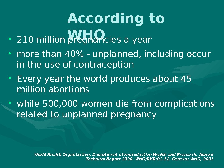 According to WHO • 210 million pregnancies a year • more than 40 - unplanned, including