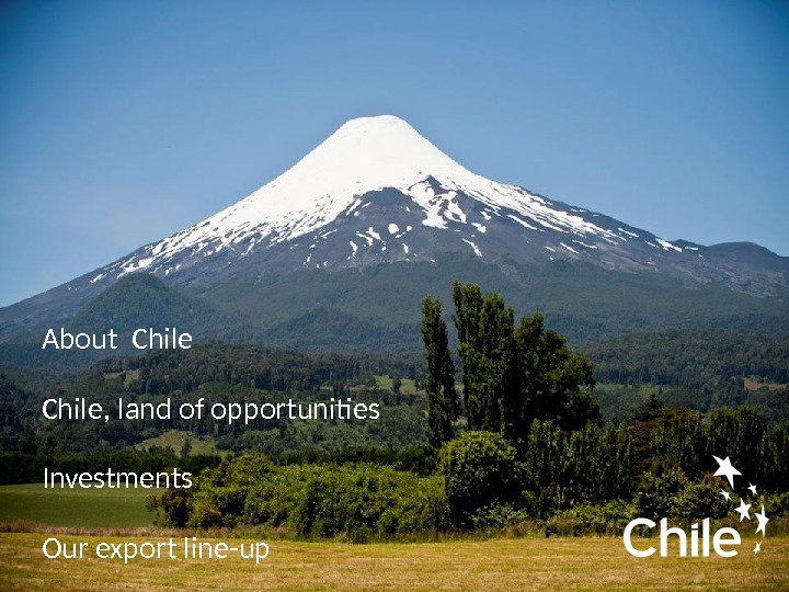 About Chile, land of opportunities  Investments  Our export line-up