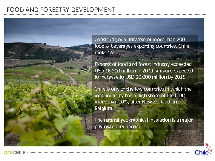 FOOD AND FORESTRY DEVELOPMENT Consisting of a universe of more than 200 food & beverages exporting