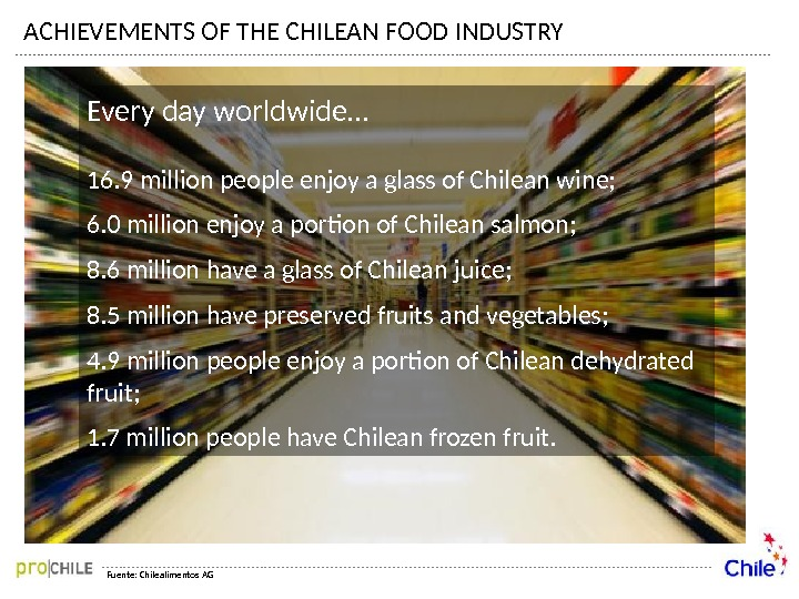 ACHIEVEMENTS OF THE CHILEAN FOOD INDUSTRY Fuente: Chilealimentos AGEvery day worldwide… 16. 9 million people enjoy