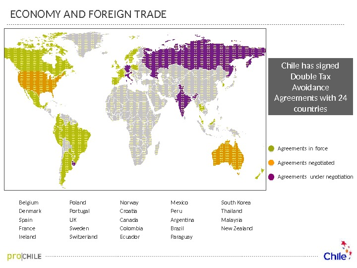 ECONOMY AND FOREIGN TRADE Agreements in force Agreements negotiated  Agreements under negotiation Belgium Denmark Spain