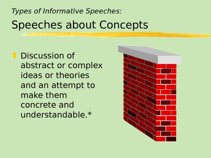 Types of Informative Speeches: Speeches about Concepts Discussion of abstract or complex ideas or theories and