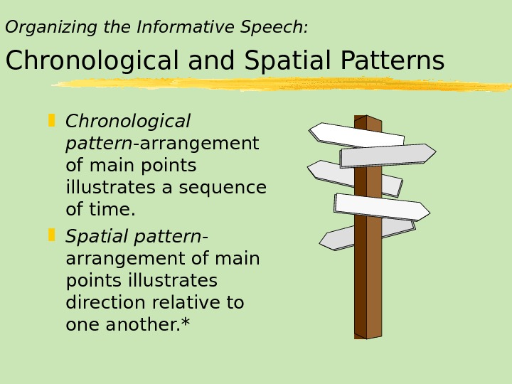Organizing the Informative Speech: Chronological and Spatial Patterns Chronological pattern -arrangement of main points illustrates a