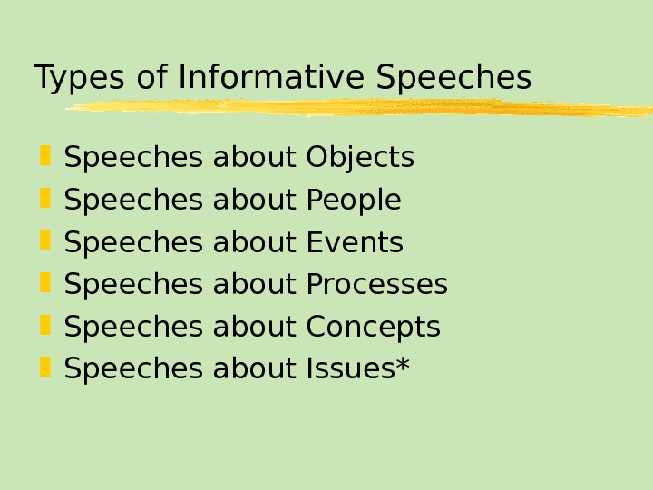 Types of Informative Speeches about Objects Speeches about People Speeches about Events Speeches about Processes Speeches