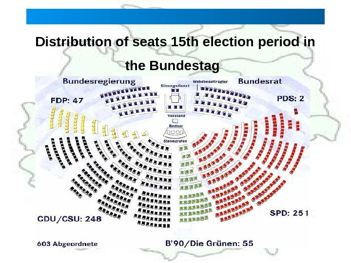Distribution of seats 15 th election period in the Bundestag