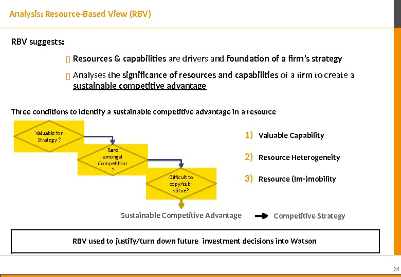 24 RBV suggests:  Resources & capabilities are drivers and foundation of a firm's strategy