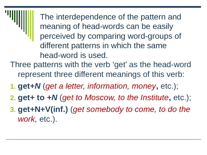 The interdependence of the pattern and meaning of head-words can be easily perceived by comparing word-groups