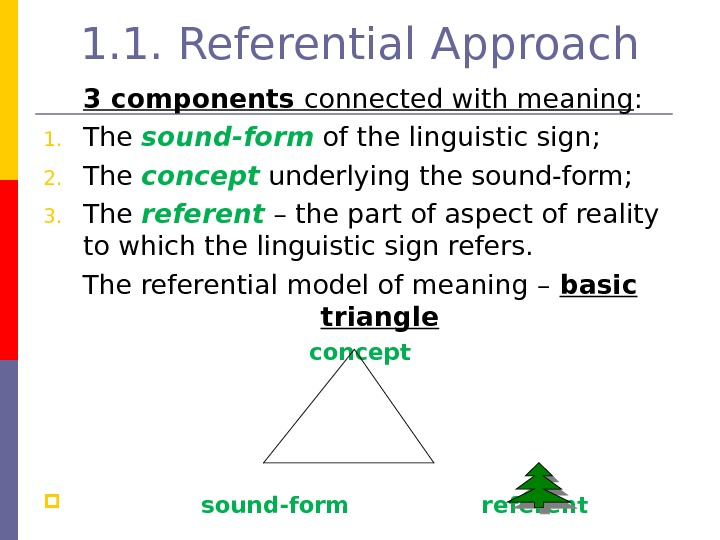 1. 1. Referential Approach 3 components connected with meaning : 1. The sound-form  of the