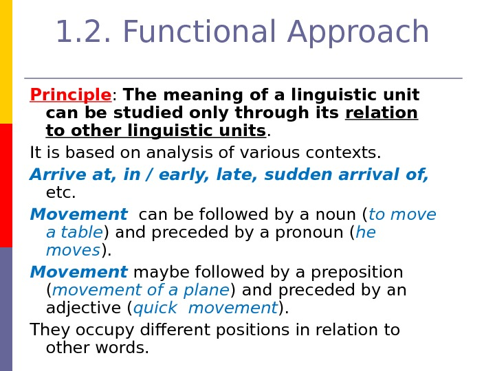 1. 2. Functional Approach  Principle :  The meaning of a linguistic unit can be