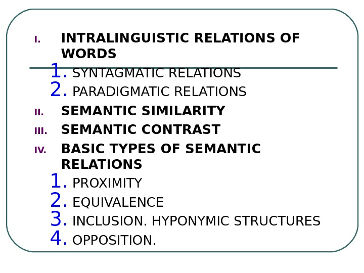 I. INTRALINGUISTIC RELATIONS OF WORDS 1. SYNTAGMATIC RELATIONS 2. PARADIGMATIC RELATIONS II. SEMANTIC SIMILARITY III. SEMANTIC