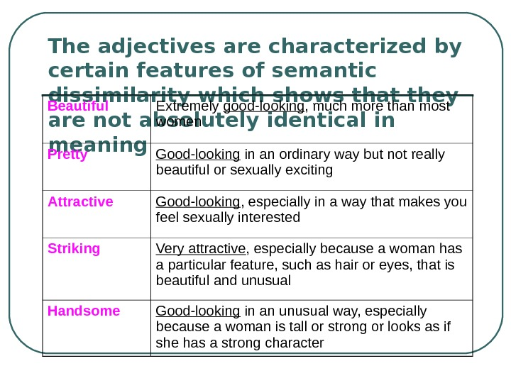 The adjectives are characterized by certain features of semantic dissimilarity which shows that they are not