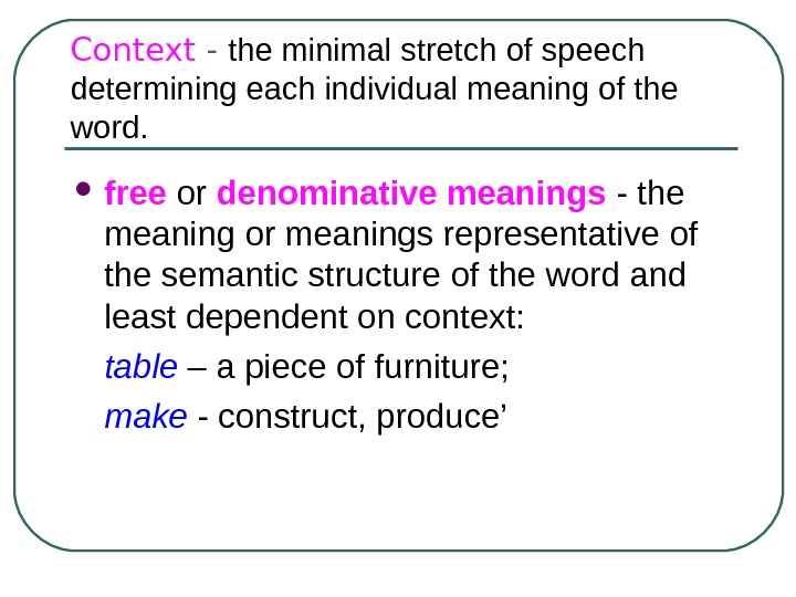 Context - the minimal stretch of speech determining each individual meaning of the word. free or