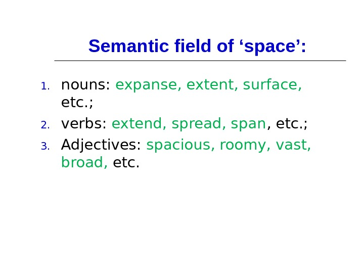 Semantic field of 'space':  1. nouns:  expanse, extent, surface,  etc. ; 2. verbs: