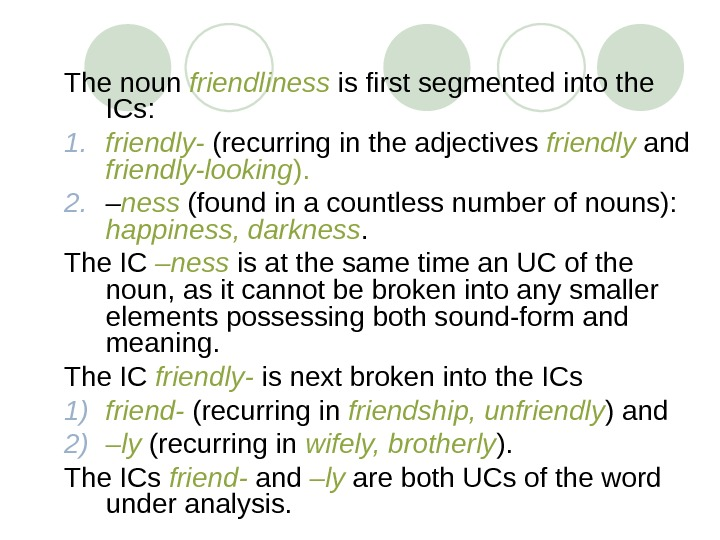 The noun friendliness  is first segmented into the ICs:  1. friendly- (recurring in the
