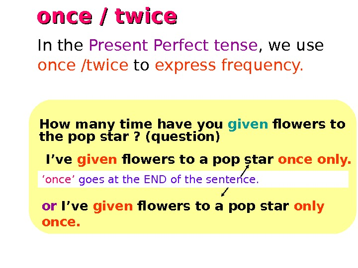 once / twice   How many time have you given flowers to the pop star