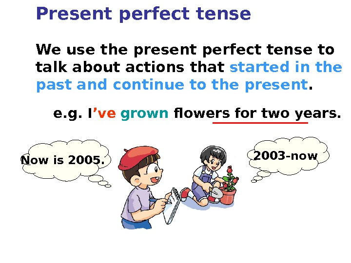We use the present perfect tense to talk about actions that started in the past and