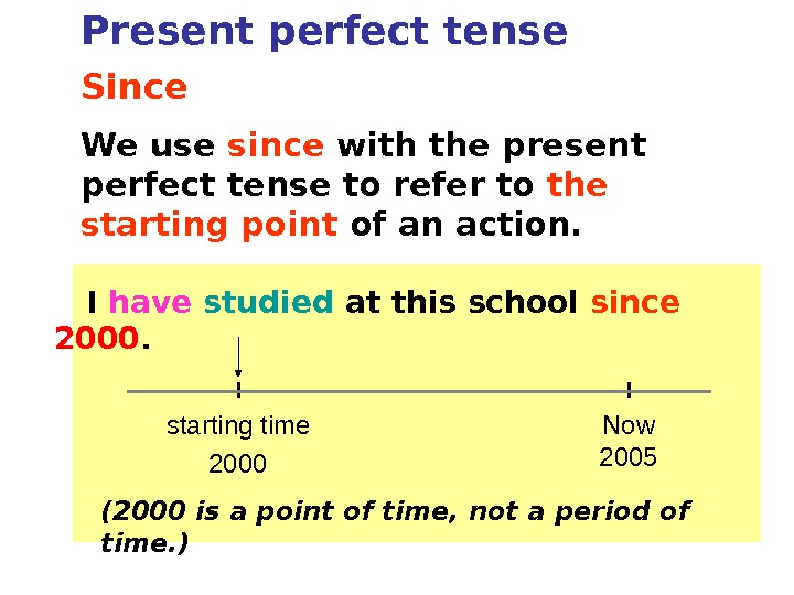 Since We use since with the present perfect tense to refer to the starting point of