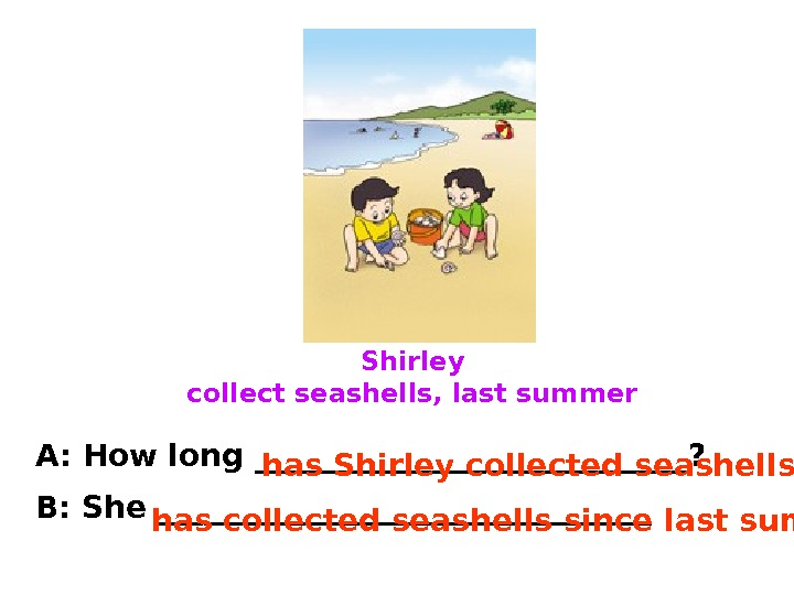 Shirley collect seashells, last summer A: How long ______________? B: She ________________. has Shirley collected seashells