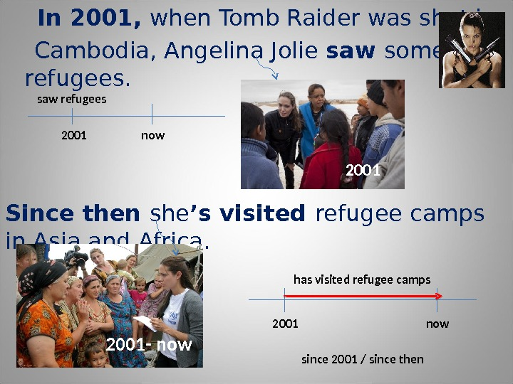 In 2001,  when Tomb Raider was shot in Cambodia, Angelina Jolie saw some refugees.