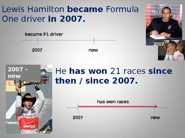 Lewis Hamilton became Formula One driver in 2007 nowbecame F 1 driver He has won 21