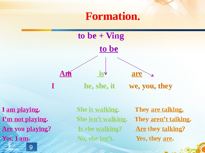 Formation. to be + Ving   to be Am    is