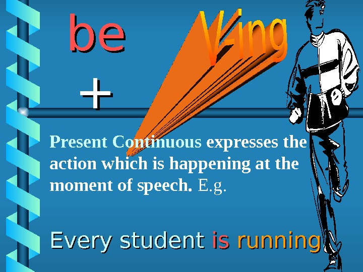 Every student isis  running. . bebe ++ Present Continuous expresses the action which is happening