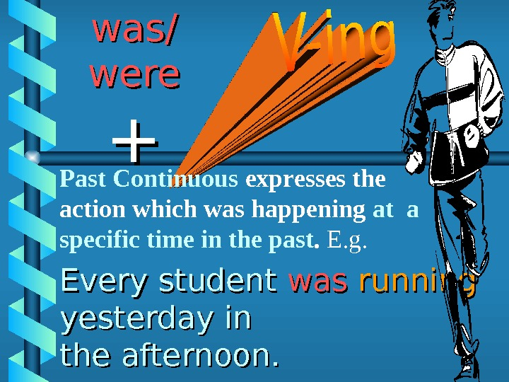 Every student waswas  running yesterday in the afternoon.  was/ were ++ Past Continuous expresses